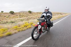 Joe Gimpel of Florida riding his Class-1 single-cylinder single-speed 1913 Thor during the Motorcycle Cannonball Race of the Century. Stage-11 ride from Durango, CO to Page, AZ. USA. Wednesday September 21, 2016. Photography ©2016 Michael Lichter.