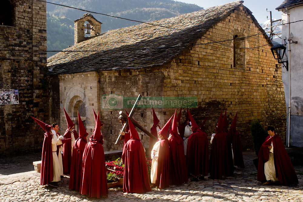April 14, 2017 - Bossost, Lleida, Spain - In the aranes village of Bossost penitents  get ready to take part to the Holy Friday procession. In the village of Bossost, Pyrenees mountains at Vall d'Aran region, neighbours take to the streets every year to held the holy friday procession. Bossost is the unic  village that still holds this tradition in the Vall d'Aran region and has its origins from 1879. (Credit Image: © Jordi Boixareu via ZUMA Wire)