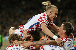 October 9, 2017 - Kiev, Ukraine - Croatia's Domagoj Vida celebrates after winning the FIFA World Cup 2018 qualification football match between Ukraine and Croatia in Kiev on October 9, 2017.ne. Ukraine fail to reach the play-offs as they lose 2-0. (Credit Image: © Sergii Kharchenko/NurPhoto via ZUMA Press)
