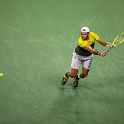 2019 US Open Tennis Tournament- Day Twelve. Matteo Berrettini of Italy in action against Rafael Nadal of Spain in the Men's Singles Semi-Finals match on Arthur Ashe Stadium during the 2019 US Open Tennis Tournament at the USTA Billie Jean King National Tennis Center on September 6th, 2019 in Flushing, Queens, New York City.  (Photo by Tim Clayton/Corbis via Getty Images)