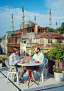 Istanbul, Turkey: Rooftop dining near the Blue (Sultanahmet) Mosque. For licensing options, please inquire.