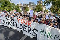 "20 SEP 2019, BERLIN/GERMANY:<br /> Demonstratinnen und Demonstranten mit Transparent ""OUR FUTURE ON YOUR SHOULDERS"", Fridays for Future Demonstration für Massnahmen zur  Begrenzung des Klimawandels, vor dem Reichstagsgebaeude, Scheidemannstrasse <br /> IMAGE: 20190920-01-074<br /> KEYWORDS: Demo, Demonstrant, Protest, Protester, Demonstration, Klima, climate, change, Maedchen, Mädchen, Frauen, Schueler, Schuelerinnen, Schüler, Schülerinnen"