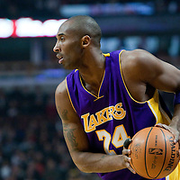 15 December 2009: Los Angeles Lakers guard Kobe Bryant looks for a teammate during the Los Angeles Lakers 96-87 victory over the Chicago Bulls at the United Center, in Chicago, Illinois, USA.