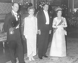 (l-r) The Duke of Edinburgh, Nancy Reagan, President Ronald Reagan and Queen Elizabeth II, pictured before attending a banquet at Windsor Castle.