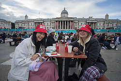 © Licensed to London News Pictures.  22/06/2021. London, UK. Fans gather at Trafalgar Square, central London ahead of the EURO 2020 England v Czech match seen on a large screens  Photo credit: Marcin Nowak/LNP