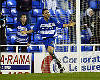 Photograph: Scott Heavey.<br />Reading v Watford. Nationwide Division One. 29/11/2003.<br />Nicky Forster celebrates taking the lead for Reading
