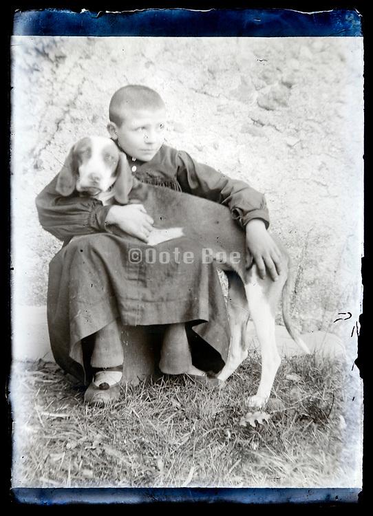 boy with pet dog France circa 1920s
