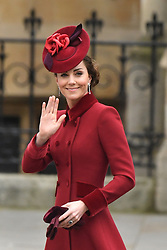 The Duchess of Cambridge arrives at the Commonwealth Service at Westminster Abbey, London on Commonwealth Day. The service is the final official engagement for the Duke and Duchess of Sussex before they quit royal life.