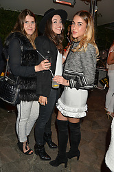Left to right, PAIGE HARDY, AURELIE MASON-PEREZ and ALICE-VICTORIA BARTLEY at a reception hosted by Tiffany Watson in aid of The Eve Appeal held at The Phene, 9 Phene Street, London on 8th September 2015.