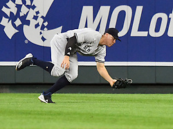May 18, 2018 - Kansas City, Missouri, U.S. - KANSAS Kansas City, MO - MAY 18:  New York Yankees right fielder Aaron Judge (99) catches a fly ball hit by Kansas City Royals right fielder Jorge Soler (12) during a Major League Baseball game between the New York Yankees and the Kansas City Royals on May 18, 2018, at Kauffman Stadium, Kansas City, MO. Kansas City won, 5-2.  (Photo by Keith Gillett/Icon Sportswire) (Credit Image: © Keith Gillett/Icon SMI via ZUMA Press)