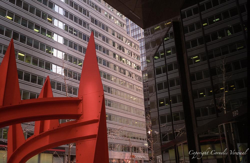 "Alexander Calder's sculpture ""Saurien"" at 590 Madison Avenue (the former IBM Building), New York City."