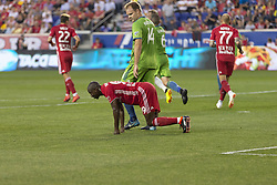 June 13, 2018 - Harrison, New Jersey, United States - Bradley Wright-Phillips (99) of Red Bulls reacts after missing target during regular MLS game against Seattle Sounders at Red Bull Arena Red Bulls won 2 -1  (Credit Image: © Lev Radin/Pacific Press via ZUMA Wire)