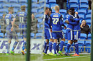 Cardiff City's Bruno Ecuele Manga (far right no5) celebrates with his team mates after he scores his teams 1st goal.  Skybet football league championship match, Cardiff city v Ipswich Town at the Cardiff city stadium in Cardiff, South Wales on Saturday 12th March 2016.<br /> pic by Carl Robertson, Andrew Orchard sports photography.