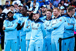 Eoin Morgan of England and his players look on after their Cricket World Cup Final win over New Zealand - Mandatory by-line: Robbie Stephenson/JMP - 14/07/2019 - CRICKET - Lords - London, England - England v New Zealand - ICC Cricket World Cup 2019 - Final