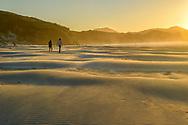 Oceania; New Zealand; Aotearoa; South Island; Wharariki Beach; sunset with sand dunes