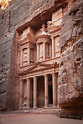"Low angle view of the Treasury, a facade carved out of stone by the Nabataeans. Currently one of the ""Seven Wonders of the World"""