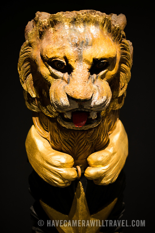 A golden figurehead of a lion from the 19th century Ironclad Asar-1 Tevfik. The Istanbul Navy Museum dates back over a century but is now housed in a new purpose-built building on the banks of the Bosphorus. While ostensibly relating to Turkish naval history, the core of its collection consists of 14 imperial caiques, mostly from the 19th century, that are displayed on the main two floors of the museum.
