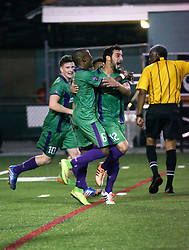 16 May 2015. New Orleans, Louisiana.<br /> National Premier Soccer League. NPSL. <br /> 2nd half. Jesters score. 1-0. <br /> The New Orleans Jesters play Nashville FC at home in the Pan American Stadium. Jesters drew 1-1 with Nashville in a game that ended in a controversial equalizer from a free kick awarded to Nashville as the minutes wound down in extra time.<br /> Photo; Charlie Varley/varleypix.com