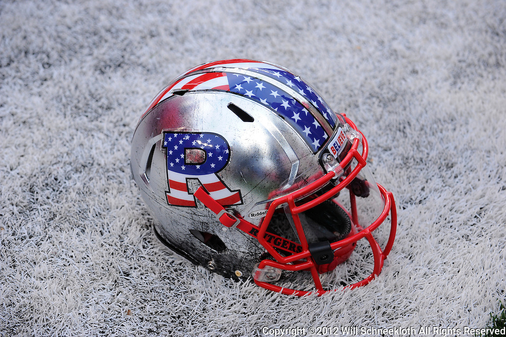 10 November 2012: A Rutgers Scarlet Knights adorned with special Veterans Day and West Point patriotic stickers during NCAA college football action between the Rutgers Scarlet Knights and Army Black Knights at High Point Solutions Stadium in Piscataway, N.J.. Rutgers defeated Army 28-7.