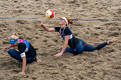 Marleen van Iersel and Jantine van der Vlist in action. The Final Day of the DELA NK Beach volleyball for men and women will be played in The Hague Beach Stadium on the beach of Scheveningen on 23 July 2020 in Zaandam.