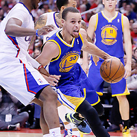 21 April 2014: Golden State Warriors guard Stephen Curry (30) drives past Los Angeles Clippers guard Chris Paul (3) during the Los Angeles Clippers 138-98 victory over the Golden State Warriors, during Game Two of the Western Conference Quarterfinals of the NBA Playoffs, at the Staples Center, Los Angeles, California, USA.