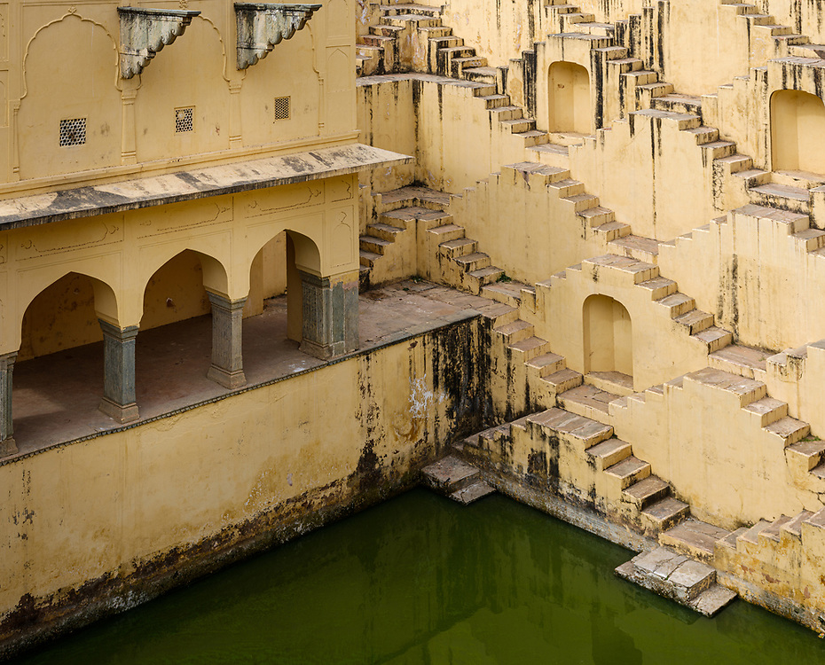 JAIPUR, INDIA - CIRCA NOVEMBER 2018: Stepwell Panna Meena Ka Kund in Jaipur. Jaipur is the capital and the largest city of the Indian state of Rajasthan. Jaipur is also known as the Pink City, due to the dominant color scheme of its buildings and a popular tourist destination.