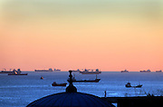 Sea of Marmara with waiting ships seen from Istanbul old city Sultanahmet area
