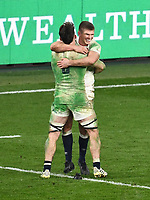 Rugby Union - 2020 Autumn Nations Cup - Final - England vs France - Twickenham<br /> <br /> England's Owen Farrell with Tom Curry at the final whistle.<br /> <br /> COLORSPORT/ASHLEY WESTERN
