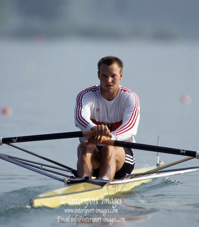 Barcelona, SPAIN.  GER M1X, Thomas LANGE, Gold medalist.  1992 Olympic Rowing Regatta Lake Banyoles, Catalonia [Mandatory Credit Peter Spurrier/ Intersport Images]