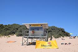 Lifeguard station, South beach, Tenby, Pembrokeshire, South Wales July 2021