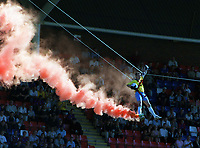The Match ball arrives by high wire. Crystal Palace v Chelsea. Pre season friendly match. 2/8/2003. Credit : Colorsport/Andrew Colorsport