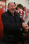 Gary Johnson celebrates winning the National League after the Vanarama National League match between Cheltenham Town and FC Halifax Town at Whaddon Road, Cheltenham, England on 16 April 2016. Photo by Antony Thompson.