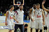 Real Madrid´s Rudy Fernandez, Jaycee Carroll and Andres Nocioni during 2014-15 Euroleague Basketball match between Real Madrid and Zalgiris Kaunas at Palacio de los Deportes stadium in Madrid, Spain. April 10, 2015. (ALTERPHOTOS/Luis Fernandez)