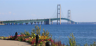 The Mackinac Bridge and The Straits of Mackinac as seen from St. Ignace on the upper peninsula side of the bridge, Michigan, USA