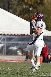 10 November 2007: Alex Pokorny pulls in a pass.  This game between the Wheaton College Thunder and the Illinois Wesleyan University Titans was for a share of the CCIW Championship and was played at Wilder Field on the campus of Illinois Wesleyan University in Bloomington Illinois.