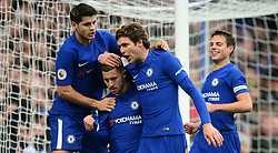 Eden Hazard of Chelsea celebrates with Marcos Alonso of Chelsea and Alvaro Morata of Chelsea - Mandatory by-line: Alex James/JMP - 02/12/2017 - FOOTBALL - Stamford Bridge - London, England - Chelsea v Newcastle United - Premier League