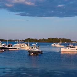 Jonesport Harbor just before sunset.  Jonesport, Maine.