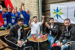 Miha Verlic of Slovenia, Jan Mursak of Slovenia, Miha Stebih of Slovenia and Ken Ograjensek of Slovenia of Slovenian Ice Hockey National Team at meeting with their supporters at day off during 2015 IIHF World Championship, on May 9, 2015 in Restaurant Zadni Vratka, Stodolni Street, Ostrava, Czech Republic. Photo by Vid Ponikvar / Sportida