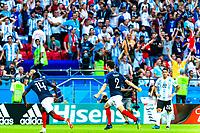 VM fotball 2018: Frankrike - Argentina. Frankrikes Benjamin Pavard feirer 2-2 i VM-kampen i fotball mellom Frankrike og Argentina på Kazan Arena. Målet blir av FIFA kåret til det vakreste målet i VM 2018.<br /> <br /> France's Benjamin Pavard celebrates what became the best goal of the FIFA World Cup 2018, the 2-2 goal against Argentina.