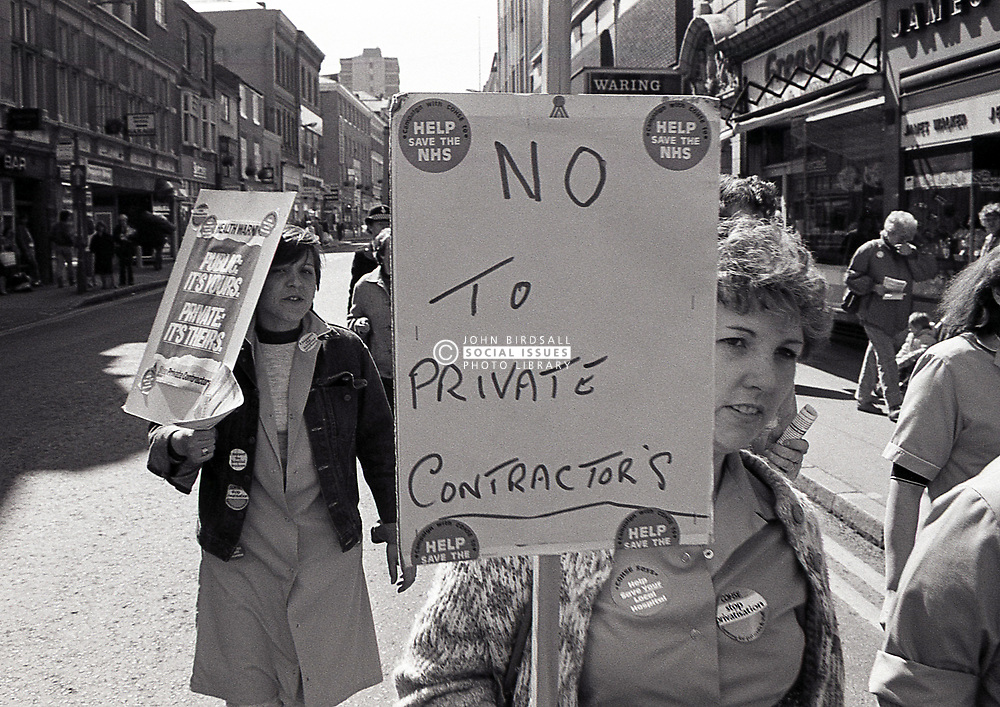 Nurses protesting at privatisation of hospital services, Leicester UK April 1985