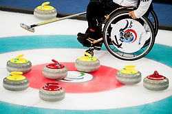 March 9, 2018 - Pyeongchang, South Korea - An athlete of South Korea during the wheelchair curling practice ahead of the 2018 Winter Paralympics in Pyeongchang. (Credit Image: © Vegard Wivestad Grott/Bildbyran via ZUMA Press)