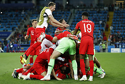 (l-r) Eric Dier of England, Danny Rose of England, goalkeeper Jordan Pickford of England, Harry Kane of England, Jamie Vardy of England, Marcus Rashford of England, John Stones of England during the 2018 FIFA World Cup Russia round of 16 match between Columbia and England at the Spartak stadium  on July 03, 2018 in Moscow, Russia