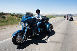 Janet Simpson of Kansas City, MO riding her Tri Glide from Steamboat Springs, Colorado, to Baggs, Wyoming during the Rocky Mountain Regional HOG Rally, USA. Friday June 9, 2017. Photography ©2017 Michael Lichter.