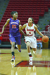 01 January 2012:  Briyana Blair defends ball handler Chloe Nelson during an NCAA women's basketball game between the Evansville Purple Aces and the Illinois Sate Redbirds at Redbird Arena in Normal IL