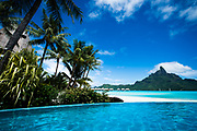 April 10-18, 2017, Bora Bora, French Polynesia: Mt. Otemanu and pool at Le Meridien Bora Bora