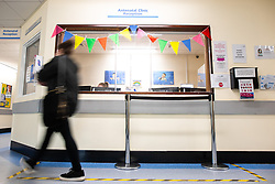 © Licensed to London News Pictures. 02/09/2021.  Wythenshawe UK . Antenatal Clinic Reception at the hospital . Pregnant women are being vaccinated against Coronavirus at the Maternity Clinic in Wythenshawe Hospital . Photo credit : Joel Goodman/LNP