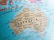 Australasia map on a globe focused on Australia