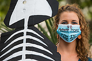 A climate activist from the Ocean Rebellion prepares to take part in a colourful Marine Extinction March on 6 September 2020 in London, United Kingdom. The activists, who are attending a series of September Rebellion protests around the UK, are demanding environmental protections for the oceans and calling for an end to global governmental inaction to save the seas.