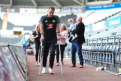 John Terry of Chelsea leaves the liberty stadium on crutches. - Mandatory byline: Alex James/JMP - 07966386802 - 11/09/2016 - FOOTBALL - Barclays premier league -swansea,Wales - Swansea v Chelsea  -