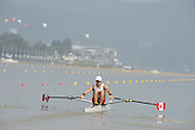 Chungju, South Korea. Sunday Heats, CAN. LM1X. Nicolas PRATT, Moves away from the start on the openingt day of the 2013 FISA World Rowing Championships, Tangeum Lake International Regatta Course. 10:07:07  Sunday  25/08/2013 [Mandatory Credit. Peter Spurrier/Intersport Images]